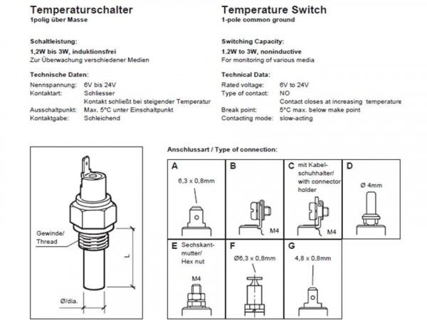VDO Temperaturschalter 160°C